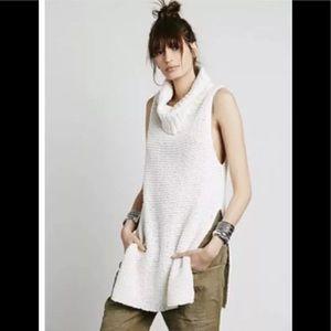 Free People Cowl Neck Chunky Knit Tunic Sweater XS